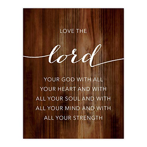 Andaz Press Christian Bible Verses 8.5x11-inch Wood Poster, Love The Lord Your God with All Your Heart and with All Your Soul. Mark 12:30, 1-Pack, Religious Christmas Birthday Gift for Him Her (Love The Lord Your God With All)