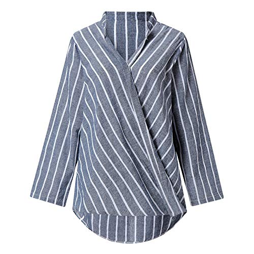 Womens Tops and Blouses Fashion Streetwear Stripe Women Tops Tunic Long Sleeve V Neck Blouse Women Ladies Tops(Gray,S) ()