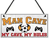 XLD Store Man Cave Rules Gaming Shed Garage Funny Home Bar Hanging Plaque Gift Dad Sign