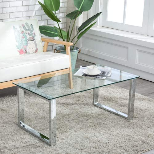 LAGRIMA Rectangular Glass Coffee Table Stainless Steel Table Living Room