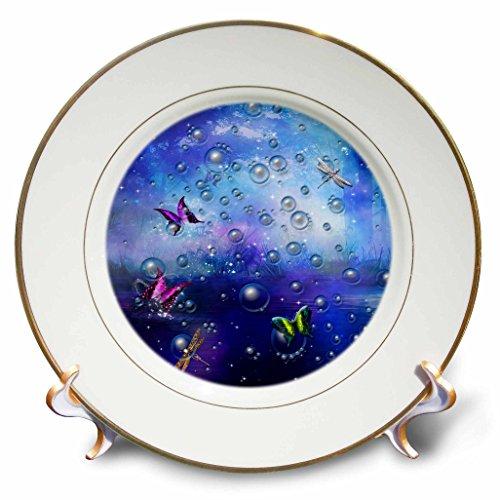 3dRose Fantasy - Transparent bubbles and butterflies in purple gradient backdrop - 8 inch Porcelain Plate - Pics Gradient