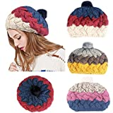 DEATU Knitted Cap Clearance, Women Teen Girl Winter Patchwork Multicolor/Solid Baggy Warm Knit Ski Hat Ladies Caps