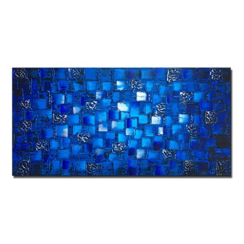 (MyArton Large Thick Abstract Dark Blue add Silver Square Wall Art Hand Painted Artwork Textured Oil Painting on Canvas Framed Ready to Hang 60x30inch)