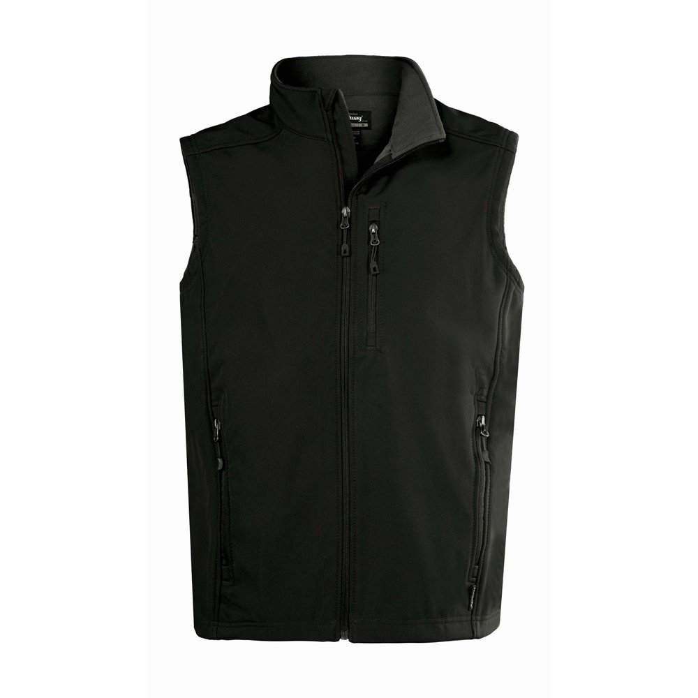 Landway Men's Water Resistant Bonded Soft Shell Vest, Black, Large by Landway