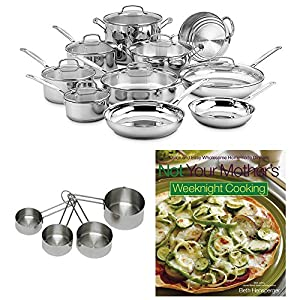 Cuisinart Chef's Classic Stainless 17-Piece Cookware Set w/ Cup Set & Cookbook