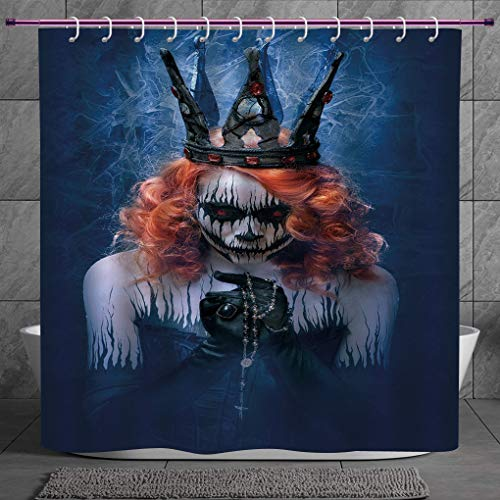 SCOCICI Funky Shower Curtain 2.0 [ Queen,Queen of Death Scary Body Art Halloween Evil Face Bizarre Make Up Zombie,Navy Blue Orange Black ] Fabric Shower Curtain