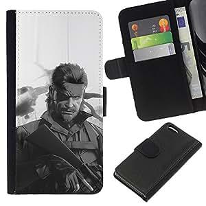 KLONGSHOP // Tirón de la caja Cartera de cuero con ranuras para tarjetas - Metal Gear S0Lid Serpiente - Apple Iphone 5C //
