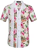 SSLR Men's Cotton Button Down Short Sleeve Hawaiian Shirt (Small, Pink (168-169))