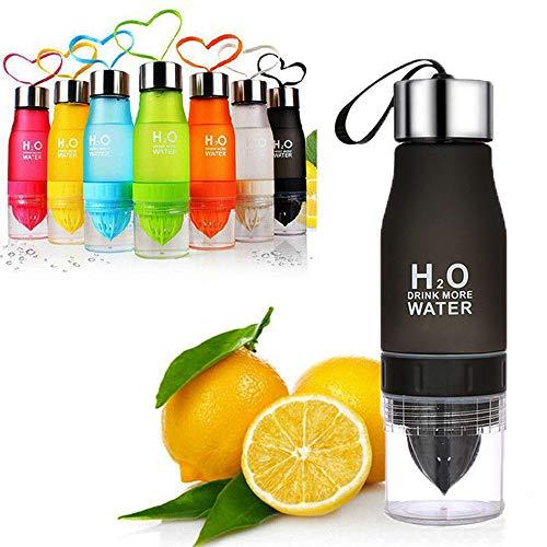 Benchmart Lemon Juice Fruit Water Bottle, 650ml Infuser Sports 2 en 1 Bottle, Frosted Plastic Fruit Squeezer Cup Portable for Outdoor Healthy Drinks (Black) ()