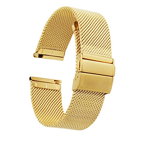 [ZHUGE] Watch Straps - New Style Double-Press Clasp Buckle Milanese Mesh Watch Bands 18mm Gold