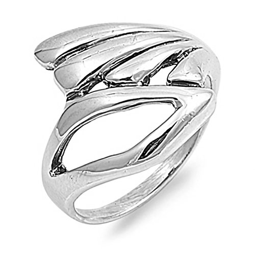 Plain Freeform Sterling Silver Womens Wing Ring Size 7 ()