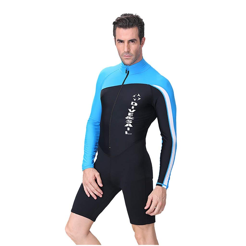 acction Mens 1.5mm Neoprene Long Sleeve Scuba One Piece Wetsuit Surfing Diving Swimsuit Stretch Suit Snorkeling Jumpsuit Blue by acction