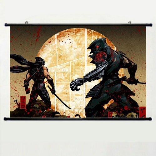 Wall Scroll Poster with Yaiba Ninja Gaiden Z Ninja Yaiba Kamikaze Cyborg Home Decor Wall Posters Fabric Painting 23.6 X 15.7 Inch