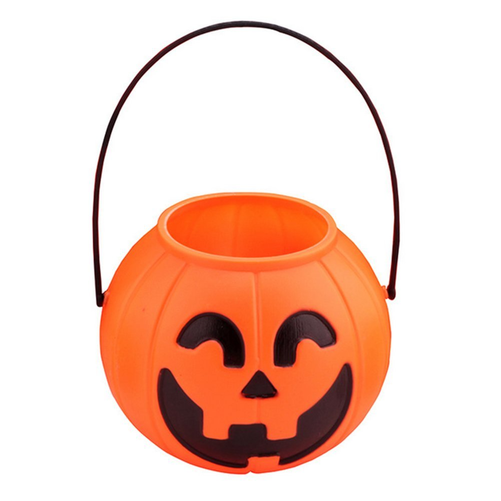 LAAT Halloween Pumpkin Bucket Plastic Pumpkin Barrel Mini Trick-or-treat Halloween Candy Jar Decorative Pumpkin Lights Props size 7CM