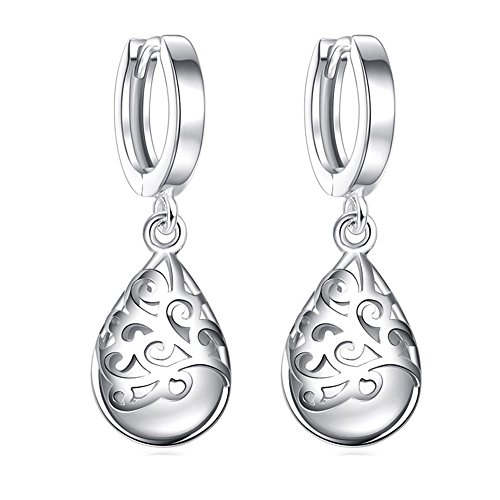 r Earrings Solid Sterling Silver Plated Polished Teardrop Cat's Stone Vintage Dangles ()