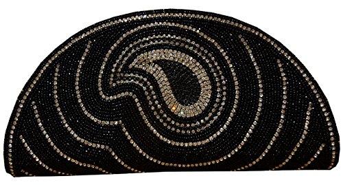 Embrayage noir embossé à la main pour art de femme aux épices