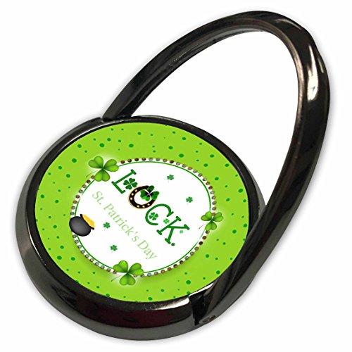 3dRose Beverly Turner St Patrick Day Design - St Patrick Day, Luck, Horseshoe, Shamrock, Pot of Gold, Round Frame - Phone Ring (phr_282058_1) (Gold Round Horseshoes)