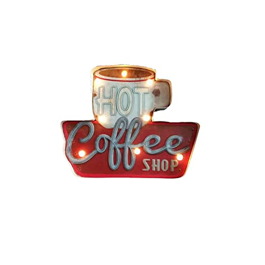 ARTSTORE Retro Metal Industrial Bar LED Sign,American Style Creative Loft  Iron Cafe Wall Décor,Coffee Cup