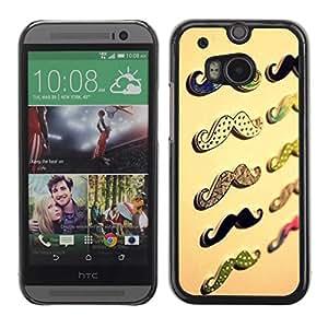 FECELL CITY // Duro Aluminio Pegatina PC Caso decorativo Funda Carcasa de Protección para HTC One M8 // Moustache Handlebar Beige