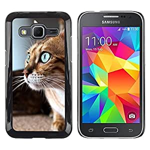 Be Good Phone Accessory // Dura Cáscara cubierta Protectora Caso Carcasa Funda de Protección para Samsung Galaxy Core Prime SM-G360 // Savannah Serengeti Blue Eyes Playing Cat