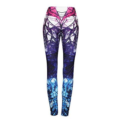 (DORIC High Waist Yoga Pants for Women Yoga Workout Pants Fitness Elastic Leggings Tummy Control Trousers Purple)