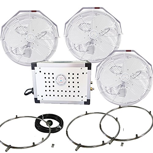 Misting Fan Kit - 18 Inch Outdoor Fan with 250 PSI Misting Pump - Stainless Steel Misting Fan Ring (3 White Color Fans)