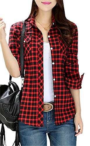 Women's Long Sleeves Vintage Plaids Button Down Flannel Slim Shirt Red & Black