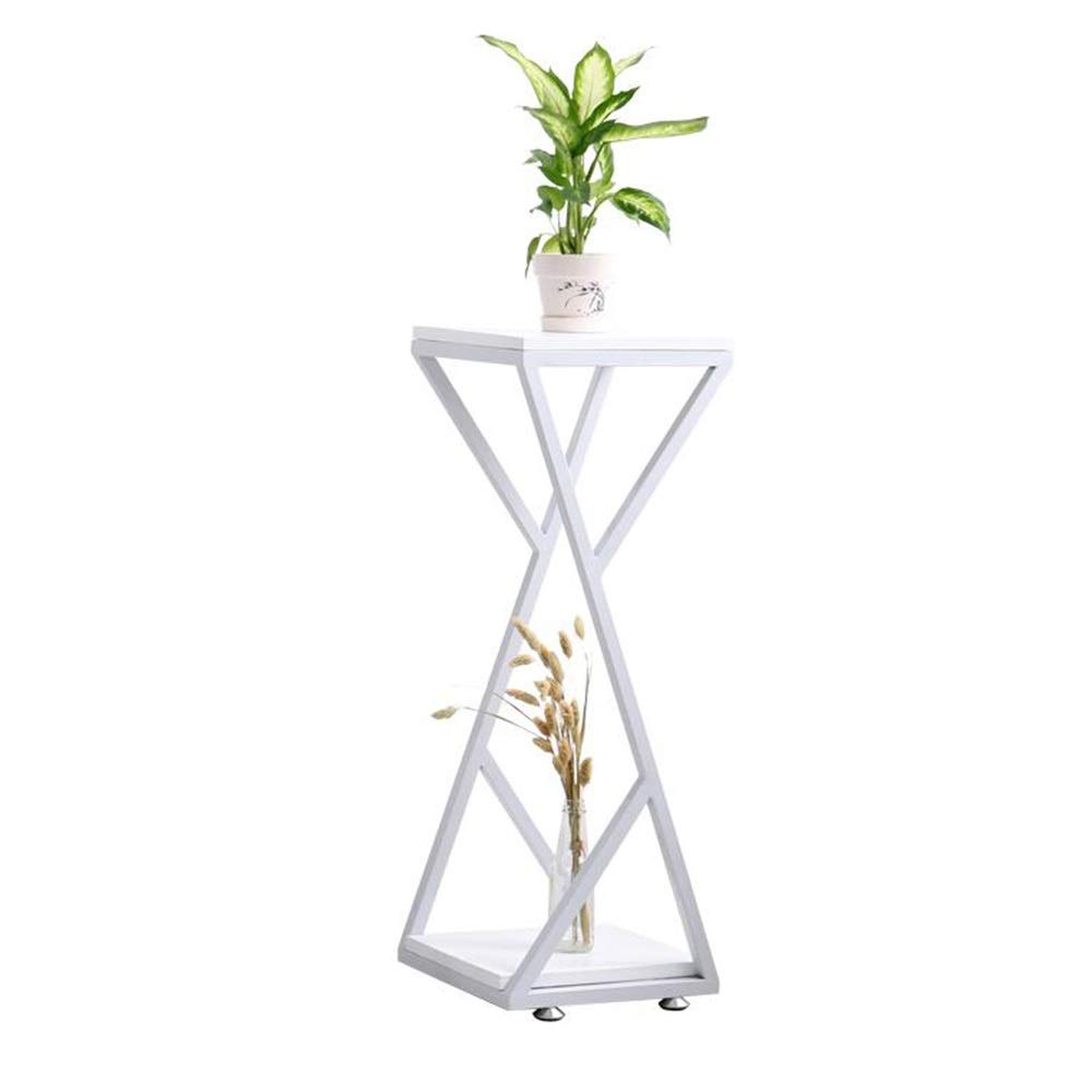 White 303082CM ZR- Sofa Side Table Creative Square Coffee Table Corner Table 2 Tiers Storage Shelf Flower Stand Furniture (color   Black, Size   30  30  67CM)