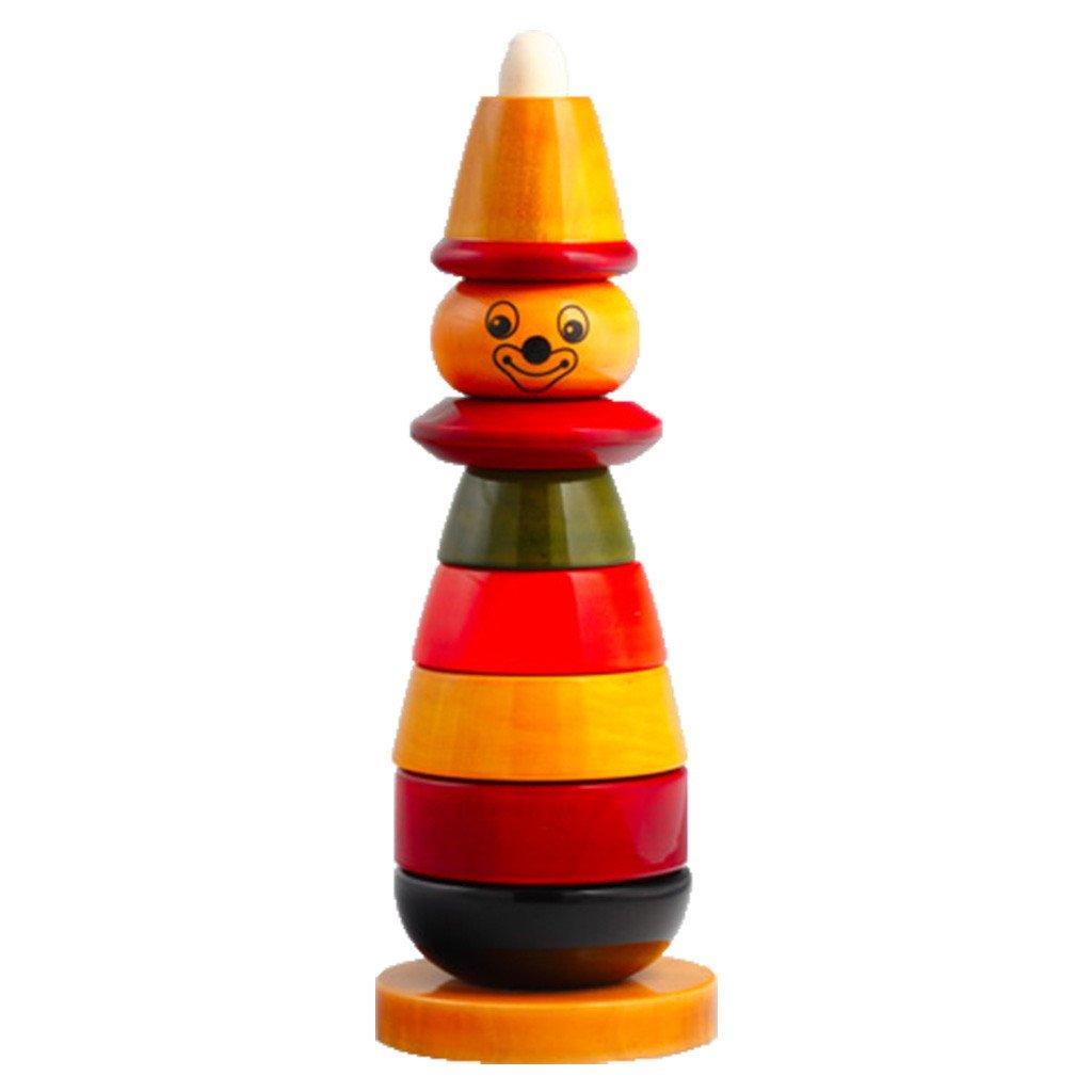 Baby Baazaar Developmental Bibbo The Clown Wood Stacker For Kids 18 Months And Up