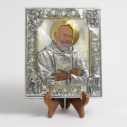 (Silver Plated Icon - Father Pio of Pietrelcina)
