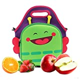Castle Story Neoprene Lunch Bag,Lightweight and Waterproof and Insulated Fresh and Fit Gourmet Lunch Tote For Kids with Two ways to handle, Lovely Lunch Boxes Carrier Travel Bag,Green Butterfly