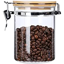 Clear Borosilicate Glass Food Storage Jars Canisters Containers Set with Airtight Locking Clamp Bamboo Lids for Kitchen BPA Free,29oz,Flour Sugar Container Coffee Tea Canister Cookies Pasta Cereal Jar