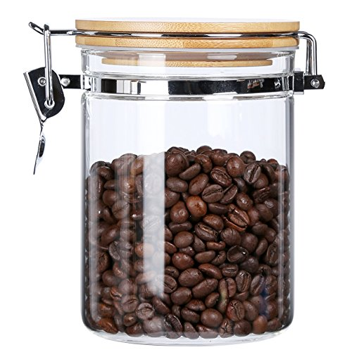 Clear Borosilicate Glass Food Storage Jar Canister Container Set with Airtight Locking Clamp Bamboo Lid,Kitchen Canister,Glass Coffee Jar Sugar Canister Flour and Tea Container,BPA Free,29 oz (Bamboo Kitchen Storage Canister)