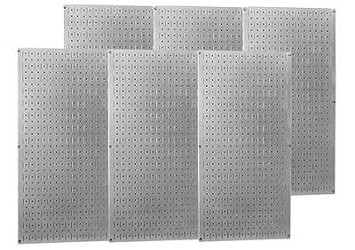 Wall Control Industrial Metal Pegboard - Galvanized Metal, Six 16in. x 32in. Panels, Model# 35-P-3296GV