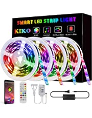LED Light Strip, KIKO Led Strip Smart Color Changing Rope Lights 65.6ft SMD 5050 RGB Light Strips with Bluetooth Controller Sync to Music Apply for TV,Bedroom, and Home Decoration (4x16.4ft)