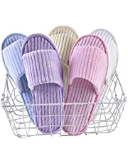 5 Pairs Women Spa Slippers Sets Guest Slippers Hotel Slippers Close Toe Open Toe Disposable Slippers Washable Portable Assorted Color