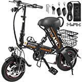 Mophorn Foldable Electric Bike with Basket 36V 8AH Folding Electric Bicycle 250W Powerful Motor E-Bike with 15-21 Miles Range Dual-Disc-Brakes Black