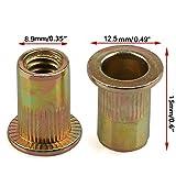 "60PCs 1/4""-20 Steel Rivet Nuts Zinc Plated Carbon Steel Head Insert Nutsert 1/4-20UNC"