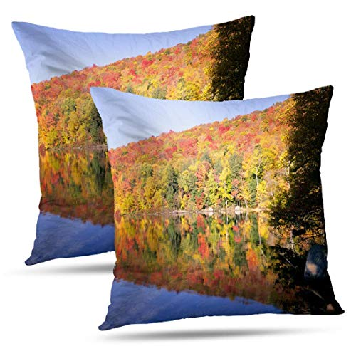Coeny Autumn-Colors Decorative Pillow Covers,Set of 2 18x18 Inch Cushion Cover, New England Autumn Trees Cotton and Ployster Blend Pillow Cases for Sofa Bed Home Car,New England Autumn (Best Places To See Fall Foliage New England)