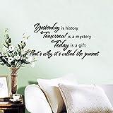 Miryo-Pegatinas Adhesivos vinilos decorativos pared frases Yesterday is history Removible para salon comedor habitación decoración hogar