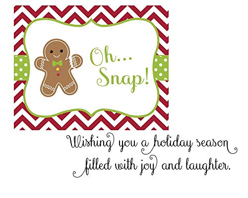Gingerbread Man Christmas Cards Oh Snap Ginger Bread Men Red Green Polka Dots Chevron Stripes Holiday Greeting Cards Secular Fun Tradition (24 - Stripe Chevron Cheery