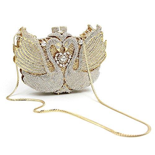 Soirée discothèques Gold Femmes Sculpt Pochette Crystal Swan Miss Bourse Mariage de Joy Strass Sac Gold Haute Qualité Luxe pour Soirée Color de De z5T1qw5