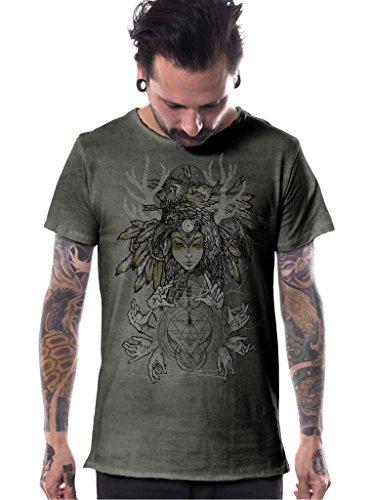 Summer Fairy Mask (Mens Graphic T-Shirt Pagan Banshee Woman Patchy Army Green Print Festival Top XL)