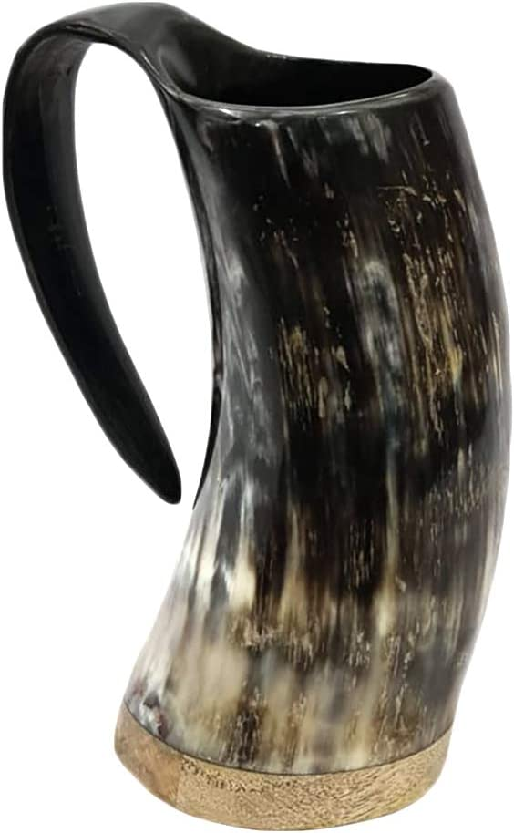 AleHorn Original Handcrafted Authentic Viking Drinking Horn Tankard for Beer Mead Ale - Genuine Medieval Inspired Stein Mug Food Safe Vessel with Handle (Large, Premium Wooden Base)