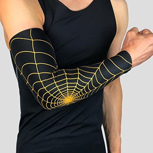 Catnew Arm Sleeve Fashion Spider Web Pattern Arm Guard Tennis Badminton Sports Elbow Pad Brace UV Protection Sleeves size M (Black + Golden)