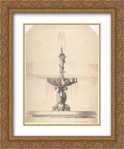 Anonymous Artist, British, 19th Century - 20x24 Gold Ornate Frame and Double Matted Museum Art Print - Design for a Fountain with a Shell Basin Supported by Three Dolphins and Surmounted by a Snake