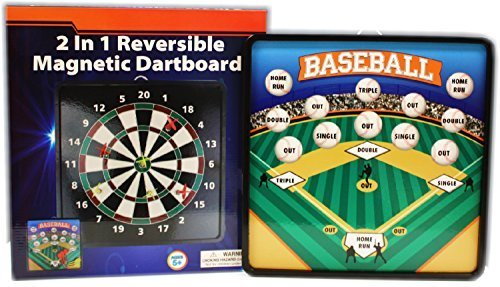Darts 2 Magnetic - Homeware 2 in 1 Reversible Magnetic Dartboard (Dart Board) with Standard Darts & Baseball Games
