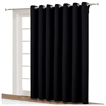 Nicetown Black Curtain For Patio Door Extra Wide Energy Save Sliding Glass Door Drapefor Curtain Rod Room Divider Curtain Vertical Blinds Black
