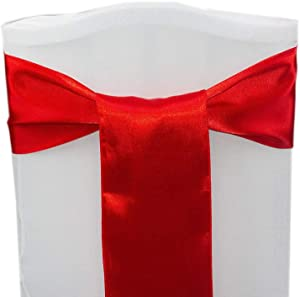 mds Pack of 50 Satin Chair Sashes Bow sash for Wedding and Events Supplies Party Decoration Chair Cover sash -red