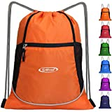 G4Free Drawstring Backpack Sports Gym Bag Large String Backpack Cinch Sack Waterproof Swim Bag Women Men Indoor Outdoor(Orange)